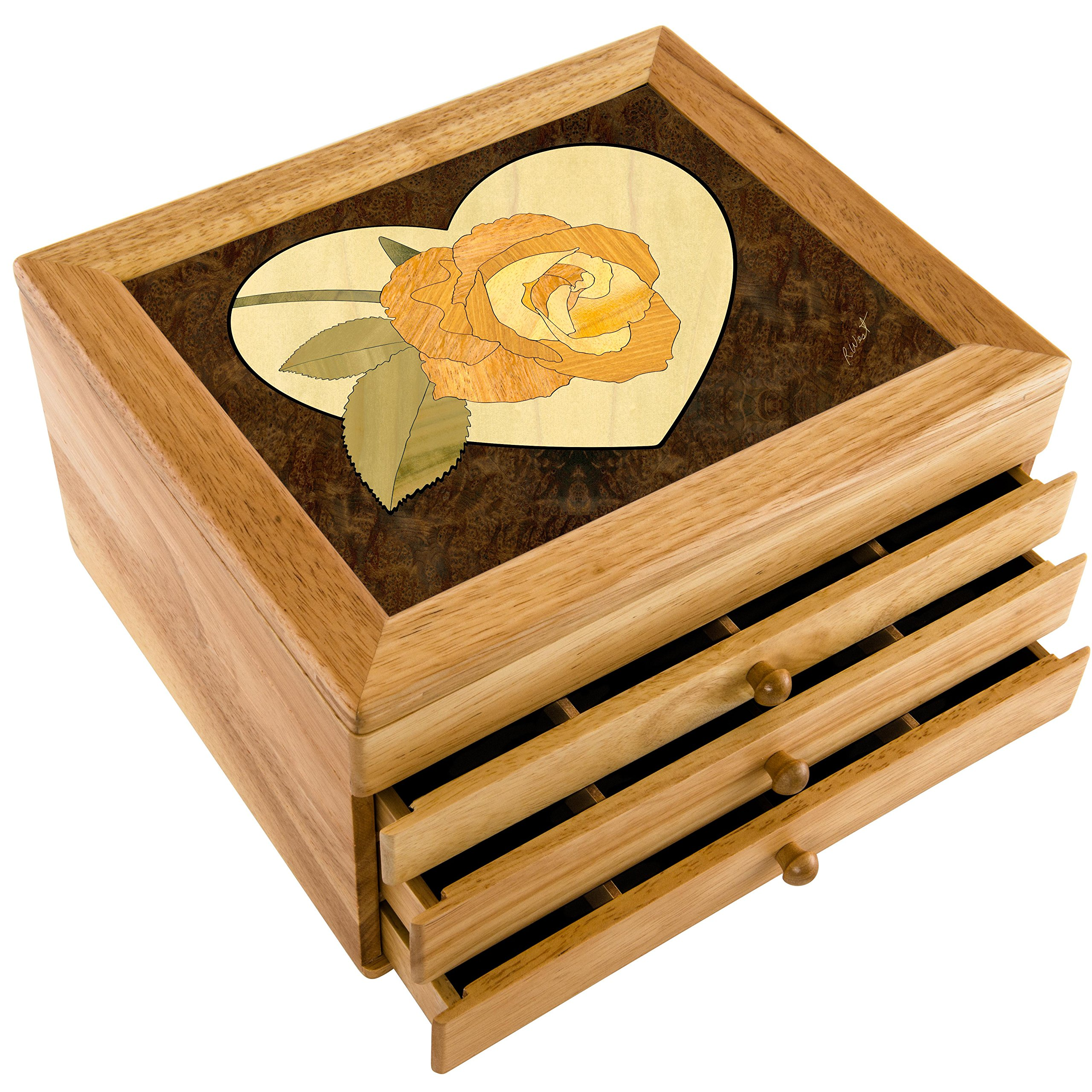 MarqART Wood Art Flower Box - Handmade USA - Unmatched Quality - Unique, No Two are The Same - Original Work of Wood Art. A Rose Gift, Ring, Trinket or Wood Jewelry Box (#7041 Heart Rose 3 Drawer)