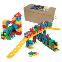 ECR4Kids Big Waffle Blocks Train Station Builder Kit- 433 Piece Interlocking Block Set - Kid and Toddler Sensory Toy with Animal Figures - Age 3+ (433 Pieces)