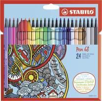 Premium Felt Tip Pen - STABILO Pen 68 Wallet of 24 Assorted Colours