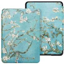 WALNEW Case Fits Kindle Paperwhite 10th Generation 2018 Protective Slim PU Leather Case Smart Auto Wake/Sleep Cover Compatible Kindle Paperwhite 10th Gen 2018 Released (A-Tree and Flowers)