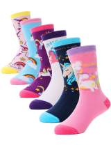 Girls Socks Cute Animal Pattern Cartoon Novelty Fashion Soft Cotton Socks 6pack