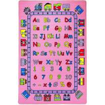 "Mybecca Kids Rug ABC Fun in Pink Area Rug 5' x 7'Children Area Rug for Playroom & Nursery - Non Skid Gel Backing (59"" x 82"")"