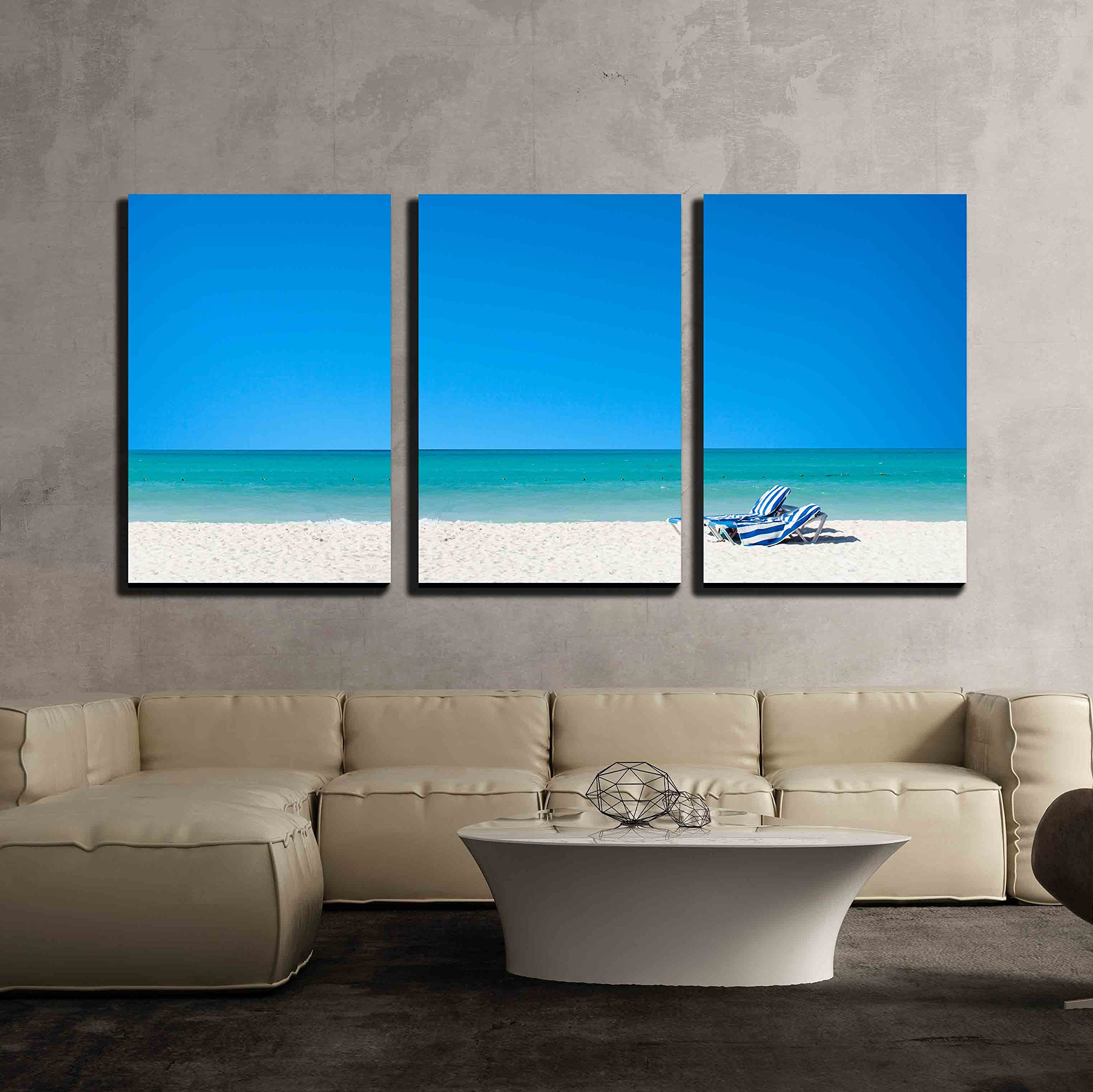 """wall26 - 3 Piece Canvas Wall Art - Summer Vacation on The Beach - Modern Home Decor Stretched and Framed Ready to Hang - 16""""x24""""x3 Panels"""