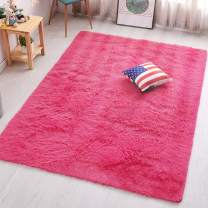PAGISOFE Hot Pink Fluffy Shag Area Rugs for Bedroom 3x5, Soft Fuzzy Shaggy Rugs for Girls Bedroom Kids Room Carpet Furry Throw Dorm Rug