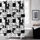 """MitoVilla Cartoon Cat Shower Curtain Set with Hooks, Cute Kitten Bathroom Art Decor for Baby, Kids, Animal and Pet Lover Gifts, Black and White, 54"""" W x 78"""" L for Small Bathroom Shower Stall"""