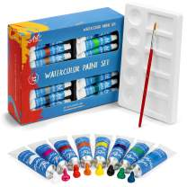 Watercolor Paint Set - 32 Water Color Paints for Artists, Adults & Kids - Bonus Palette Tray & Paint Brush Included - Professional Watercolors, Perfect for Painting, Art Supplies Kit w/ 12 ml tubes :)