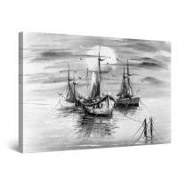 "Startonight Canvas Wall Art Black and White Abstract Boats Crayon Draw, Framed Quantic Home Decor for Bedroom 24"" x 36"""