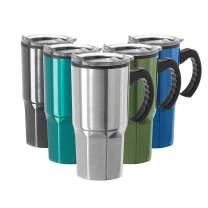 Oggi HEX Stainless Steel Travel Mug, 18-Ounce, Silver