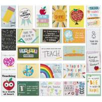 【24 Pack】 Thank You Card for Teacher- Cute Teacher Appreciation Cards in 24 unique Designs- Greeting Card For Teacher- Teachers Day Card -End of Year Teacher Cards, Nice Notes To Teachers 4 x 6 inches
