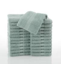 COMMERCIAL 24 PIECE WASH CLOTH  TOWEL SET BY MARTEX -  24 Wash Cloths, Home, Shower, Tub, Gym, Pool  - Machine Washable, Absorbent, Professional Grade, Hotel Quality - AQUA