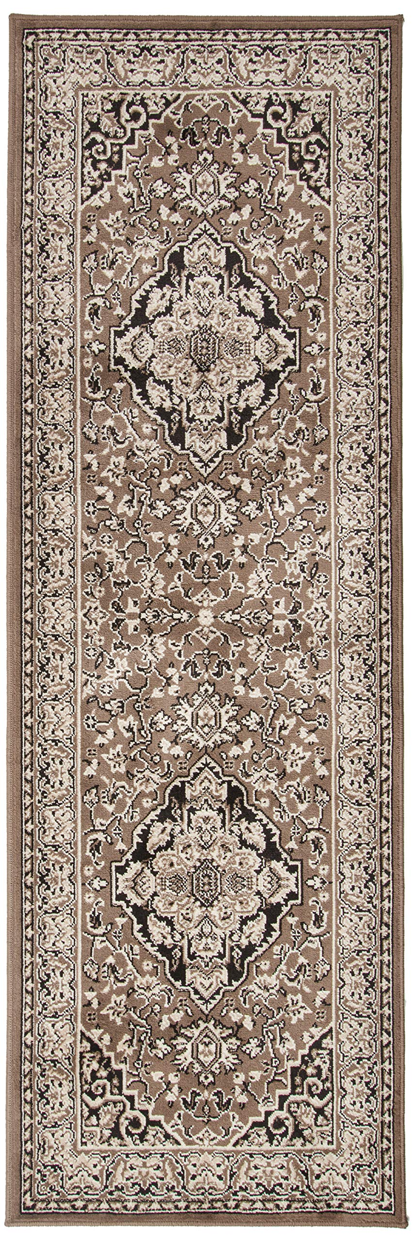 """Superior Elegant Glendale Collection Area Rug, 8mm Pile Height with Jute Backing, Traditional Oriental Rug Design, Anti-Static, Water-Repellent Rugs - Brown, 2'7"""" x 8' Runner"""