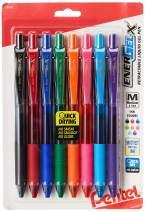 Pentel EnerGel-X Colors Retractable Liquid Gel Pen, 0.7mm, Metal Tip, Assorted Ink, 8 Pack (BL107CRBP8M)