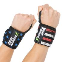 Bear KompleX Wrist Support Band Wraps for at-Home Workouts and Weightlifting, Stabilizer Grip for Right and Left Hand with Thumb Hooks, Workout Aid for Crossfit and Power Lifting, 18 Inch Pair
