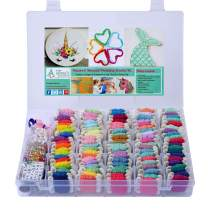 Mermaid and Unicorn DIY Friendship Bracelet String Kit Embroidery Thread and Accessories - Colors are Coded Embroidery Floss - Cross Stitch, String Art, Thread Craft Supplies - Gift Ideas for Girls