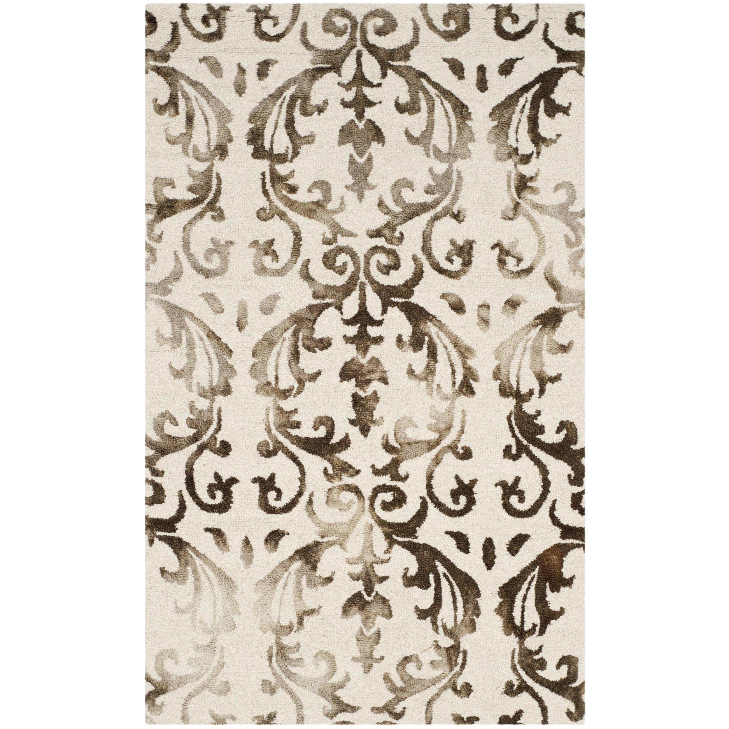 Safavieh Dip Dye Collection DDY689B Handmade Geometric Watercolor Ivory and Chocolate Wool Area Rug (3' x 5')