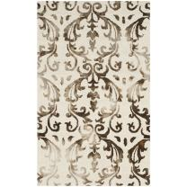 Safavieh Dip Dye Collection DDY689B Handmade Geometric Watercolor Ivory and Chocolate Wool Area Rug (3' x 5')