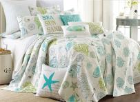 Levtex Home - Biscayne Quilt Set -King Quilt + Two King Pillow Shams - Tropical Fish in Aqua Green Coral - Quilt Size (106x92in.) and Pillow Sham Size (36x20in.) - Reversible - Cotton