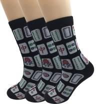 Elufly Creative Mah Jong Print Novelty Cotton Crew Socks 3 Pairs for Men Women