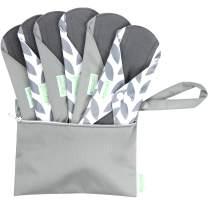 Wegreeco Bamboo Reusable Sanitary Pads (Stylish Pattern) - Cloth Sanitary Pads | Light Incontinence Pads | Reusable Menstrual Pads - 6 Pack Pads, 1 Cloth Mini Wet Bag Bonus (Small, Luxury)