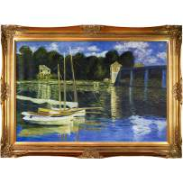 """overstockArt The Road Bridge at Argenteuil with Victorian Gold Framed Oil Painting, 44"""" x 32"""", Multi-Color"""