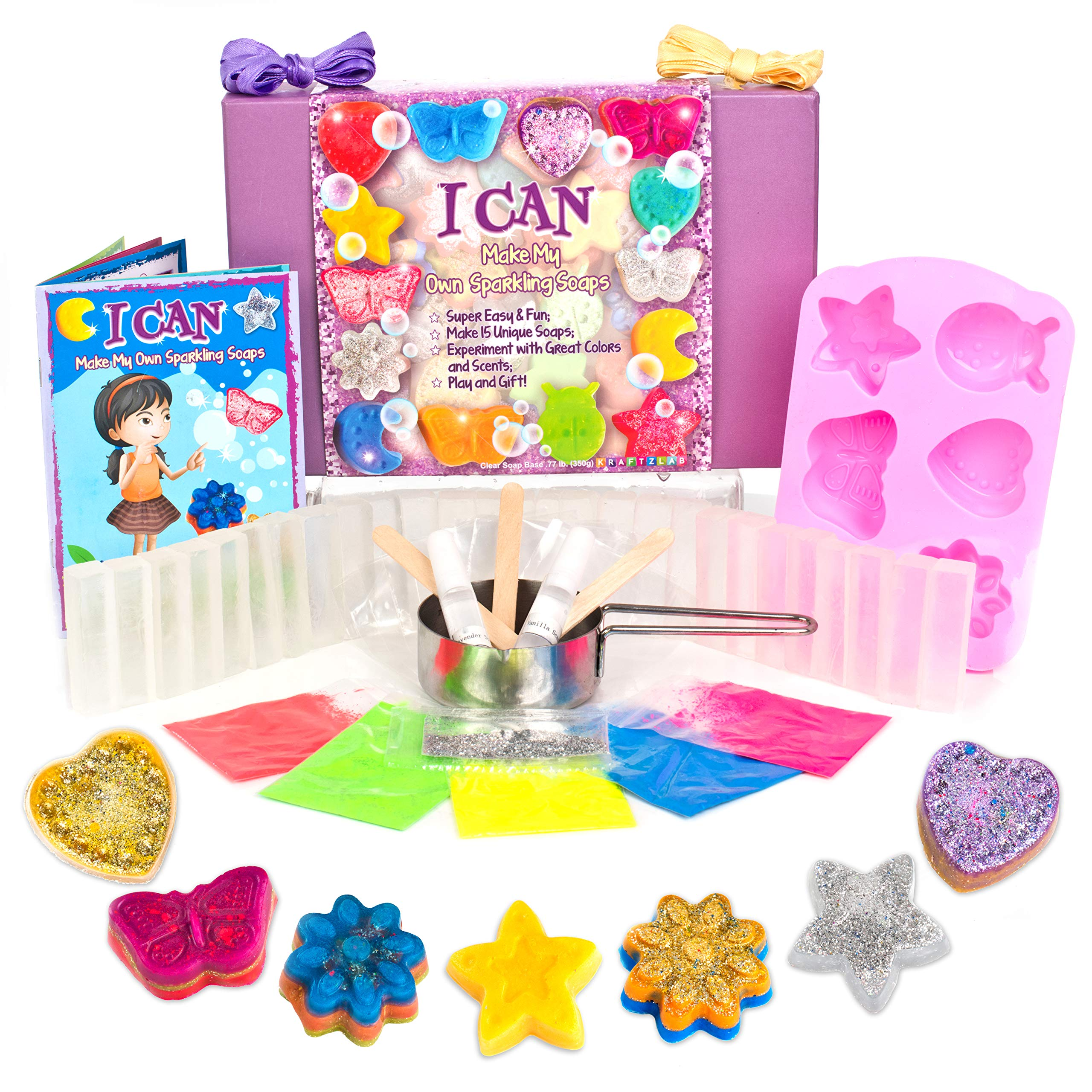 KRAFTZLAB Make Your Own Soap Educational Activity Kit for Girls and Boys   All Soap Making Supplies and Color Booklet Included Plus Gift Box   Ideal Soap Kits Gifts for Kids