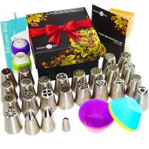 Christmas Russian Piping Tips Set 66pcs - Cake Cupcake Decorating Supplies kit- 25 Icing Nozzles Frosting tips - Ball Tips -30 Bags - 6 Silicone cups - 2 Couplers - Booklet - GIFT BOX by Stanley Fox