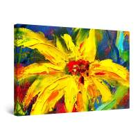 """Startonight Canvas Wall Art Abstract Yellow Red Flower Painting Framed 32"""" x 48"""""""
