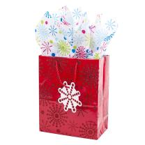 """Hallmark 9"""" Medium Gift Bag with Tissue Paper (Red Glitter Starburst) for Birthdays, Baby Showers or Any Occasion"""