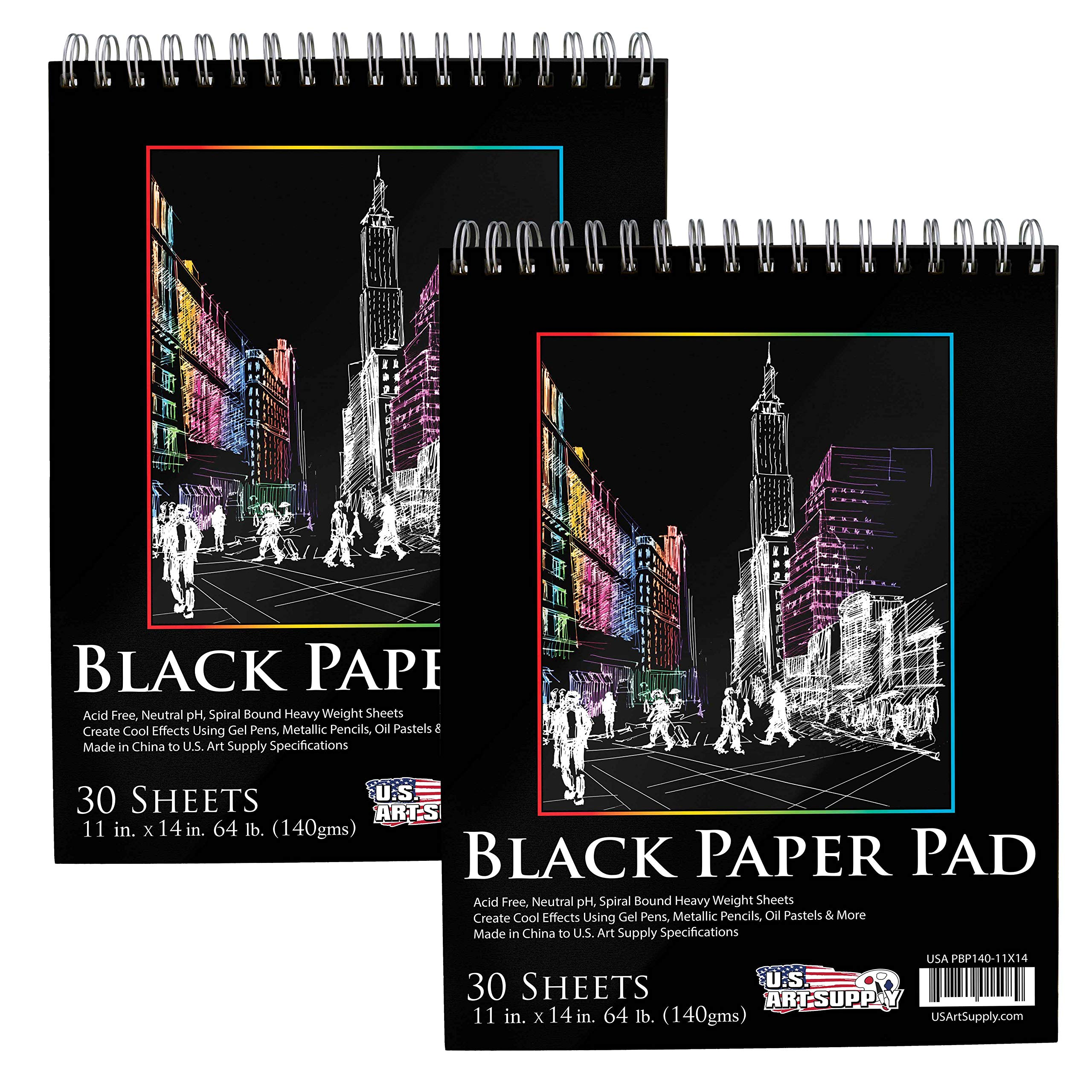 US Art Supply (Pack of 2 Pads) of 11 in. x 14 in. Premium Black Heavyweight Paper Spiral Bound Sketch Pad, 140gsm, 64 Pound, 30 Sheets on Each pad of Paper