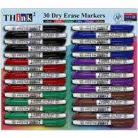 [30 Dry Erase Markers - 6 Colors] Think2 Chisel Tip Markers. (5 Black, 5 Red, 5 Blue, 5 Green, 5 Purple, 5 Brown) Bulk Set. AP Certified Low Odor Whiteboard Markers for Kids, Classroom, Office, Home
