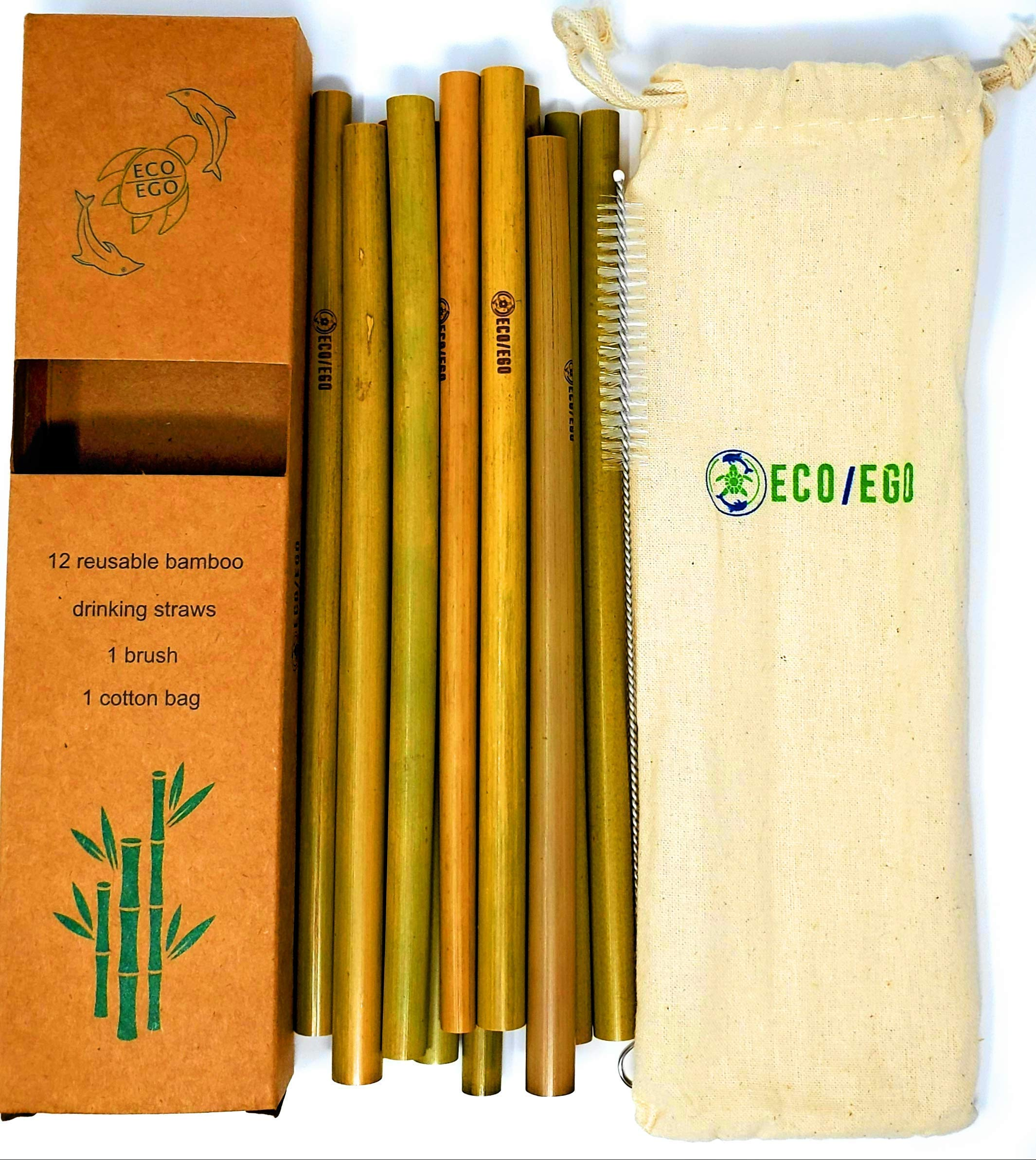 """U.S.A. owned ECO/EGO premium handcrafted organic 8"""" bamboo straws. Set of 12 biodegradable and reusable straws w/brush and travel pouch."""