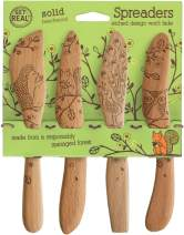 Talisman Designs 2302 Laser Etched with Woodland Design Beechwood Cheese Spreaders, Set of 4