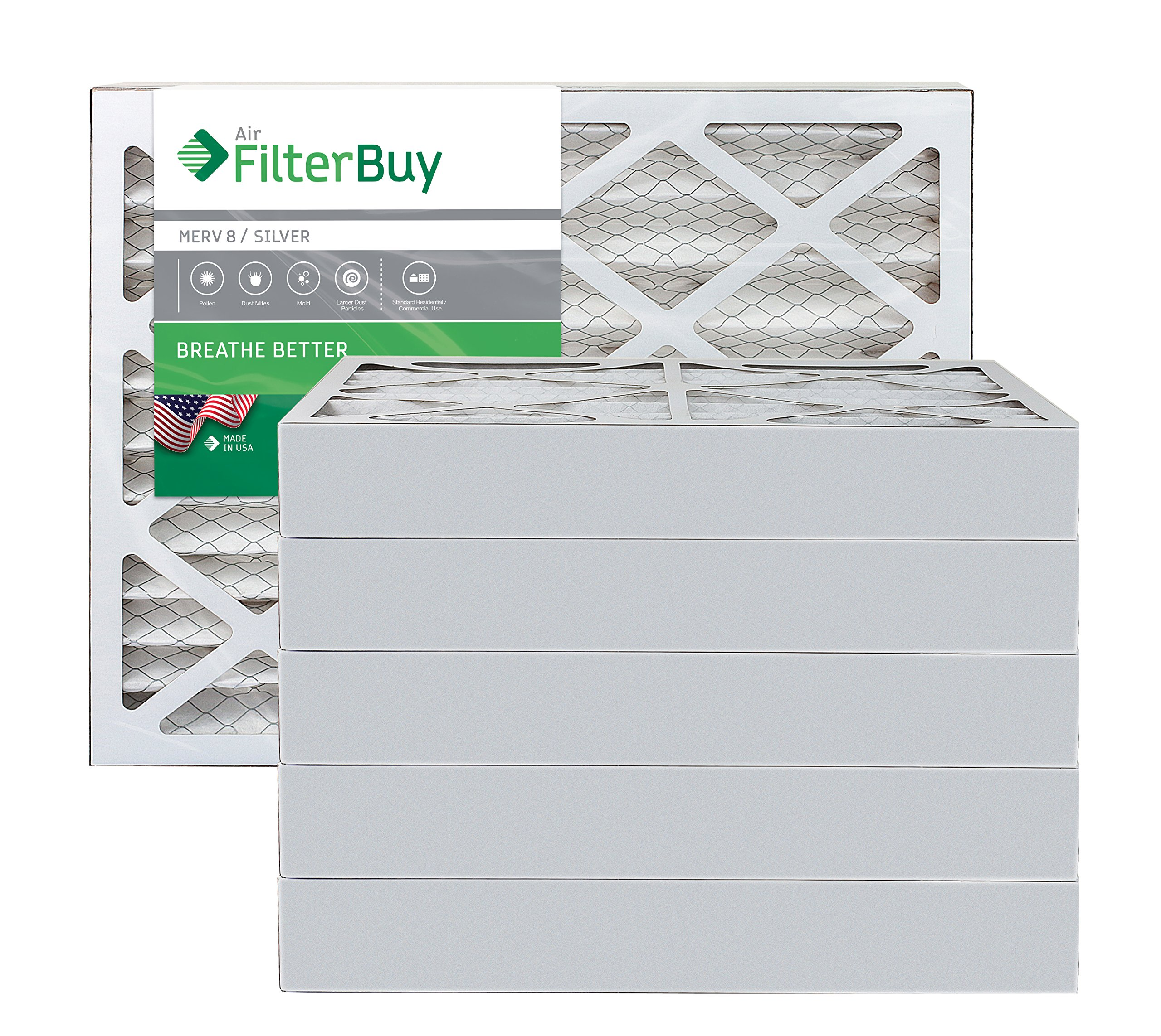 FilterBuy 16x20x4 MERV 8 Pleated AC Furnace Air Filter, (Pack of 6 Filters), 16x20x4 – Silver