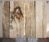 "Ambesonne Safari Curtains, Siberian Tiger Eye Looking Through Wooden Peep Hole in Spy Predator Big Cat Wild Print, Living Room Bedroom Window Drapes 2 Panel Set, 108"" X 90"", Brown Cream"