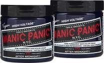 Manic Panic After Midnight Hair Dye – Classic High Voltage - (2PK) Semi-Permanent Hair Color - Vivid, Navy Blue - For Dark & Light Hair – Vegan, PPD & Ammonia Free - For Coloring Hair on Women & Men