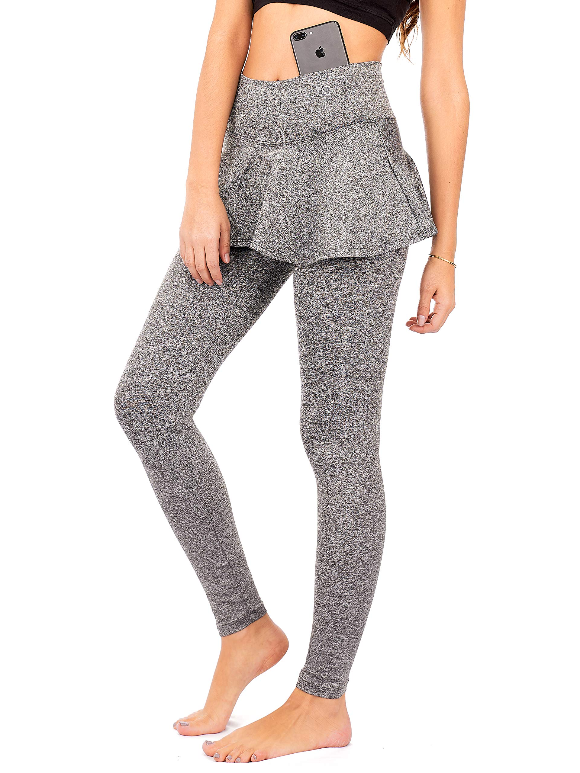 DEAR SPARKLE Skirted Leggings for Women | Yoga Tennis Golf Pants with Skirt Pockets + Plus Size (S9)