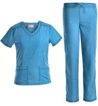 Nursing Scrubs Set Slim Uniforms - V Neck Women Scrub Jeanish JS1602 (CRB, M)