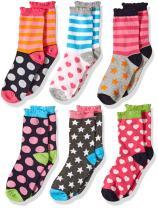 Jefferies Socks Girls' Little Girls' Dots/Hearts/Stripes Fashion Crew socks 6 Pairs Pack