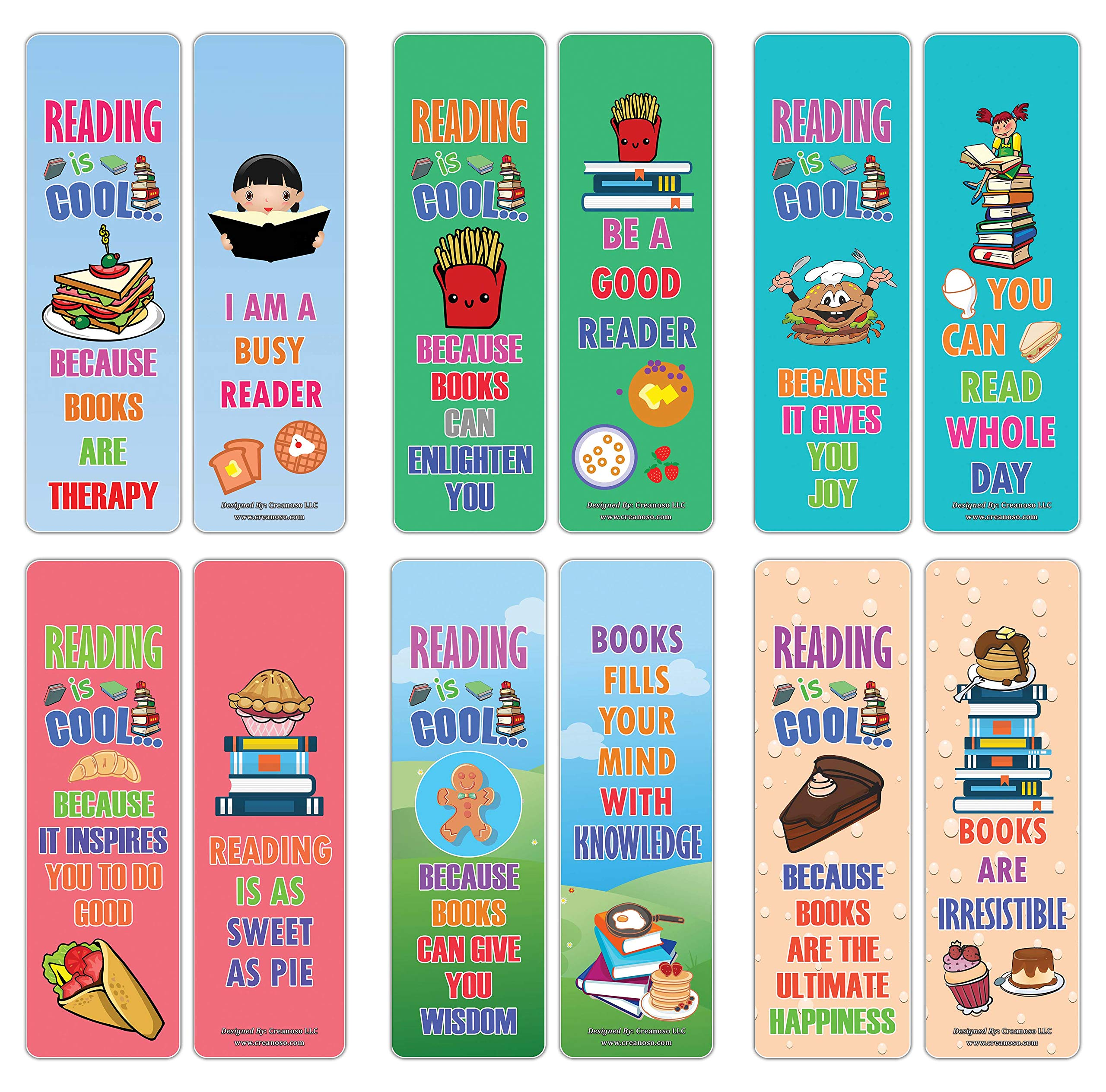 Creanoso Cool Reading Bookmarks – Various Foods Theme (30-Pack) – Stocking Stuffers Gift for Boys & Girls, Teens – Book Reading Rewards Gifts Incentive – Great Giveaways for Children – Page Clippers
