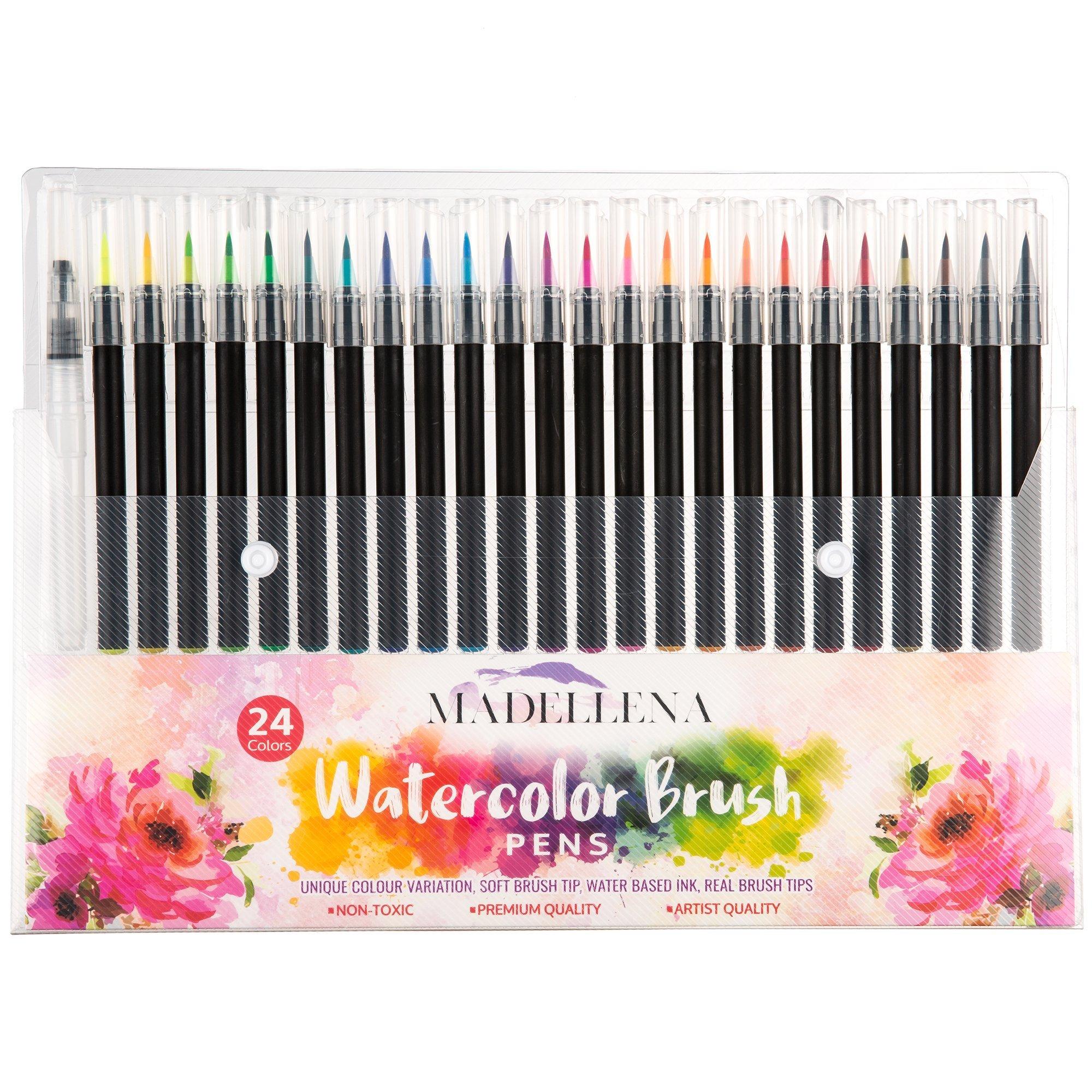 Calligraphy Brush Marker Pens, Watercolor Painting with Flexible Nylon Brush Tips, Blending Markers for Beginners, Water Color Water base Markers, Bible Journaling, Water Brush Pens