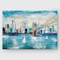 Renditions Gallery Abstract City View Landscape 'Catching The Wind Art Wall Décor for Home, Office, Bedroom, Living Room, 24X32