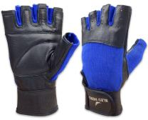 Blue Nero Genuine Leather Gloves Workout Cycling Exercise lifting Fitness Gym