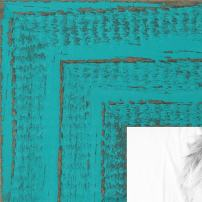 ArtToFrames 12x24 inch Weathered Barnwood in Saturated Turquoise Wood Picture Frame, WOMSM-ECO150-TUR-12x24