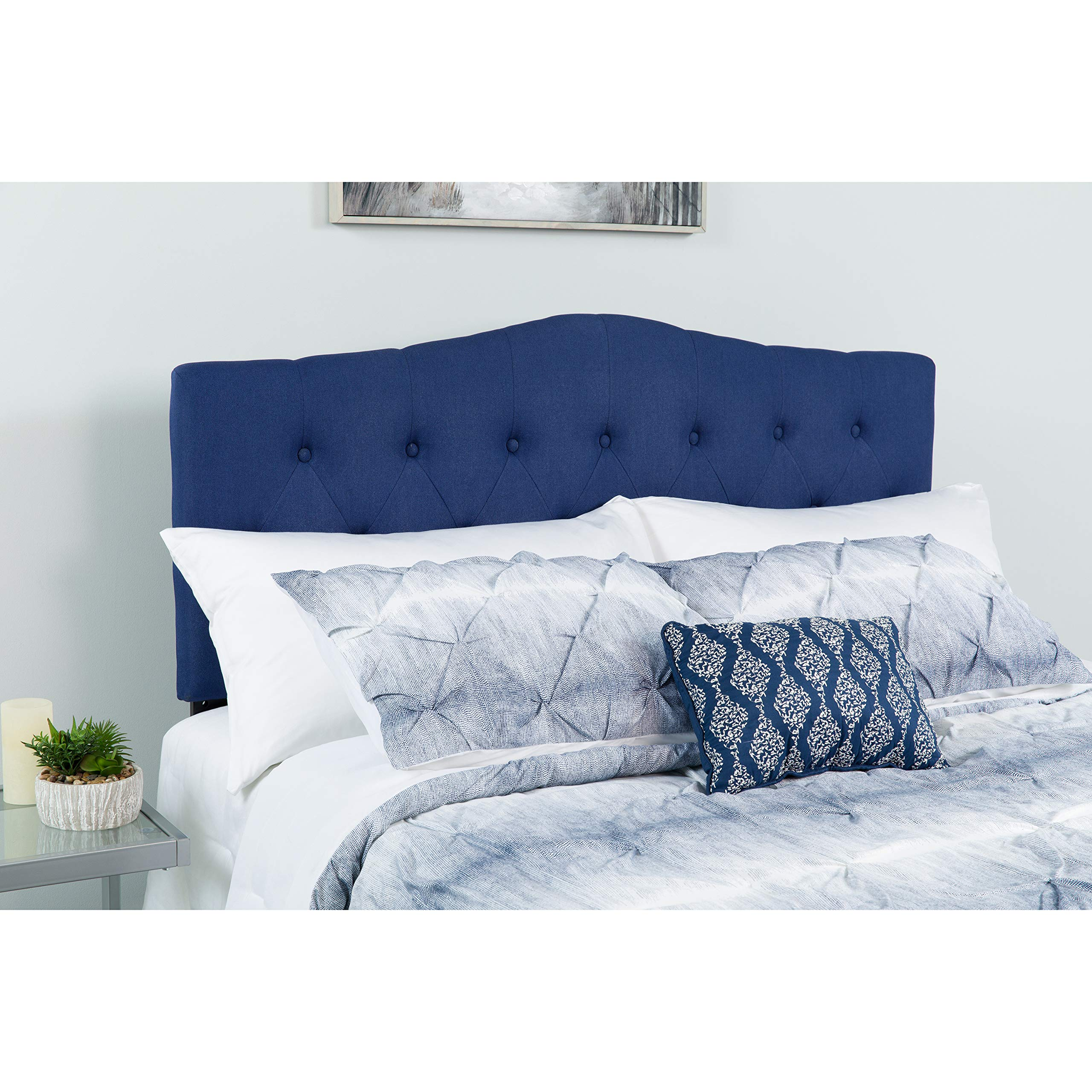 Flash Furniture Cambridge Tufted Upholstered Full Size Headboard in Navy Fabric
