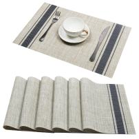 U'Artlines Set of 6 Placemats,Placemats for Dining Table,Heat-Resistant Placemats, Stain Resistant Washable PVC Table Mats,Kitchen Table mats (Placemats 6pcs, A Blue)