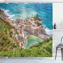 """Ambesonne Coastal Shower Curtain, View of Vernezza Famous Fisherman Village Cinque Terre Italy Ligurian Sea Artwork, Cloth Fabric Bathroom Decor Set with Hooks, 75"""" Long, Blue Green"""