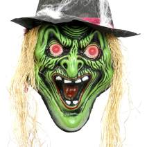 """Halloween Haunters Hanging Over-Sized 20"""" Scary Wicked Witch Face with Hat and Flashing Red LED Eyes Prop Decoration - Huge Spooky Screaming Green Cackle Head - Battery Operated"""