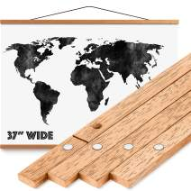"""Magnetic Poster Hanger Frame 37"""" - Premium Quality Wood, Extra Strong Magnets, Quick & Easy Setup, Full Hanging Kit for Wall Art/Prints/Canvas/Photos/Pictures/Artwork/Scratch Map (36x24 36x48 36x12)"""