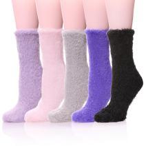 LANLEO 5/6 Pairs Womens Super Soft Fuzzy Plush Warm Winter Home Sleeping Slipper Socks