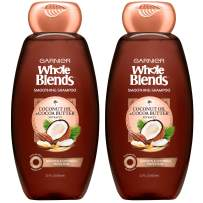 Garnier Hair Care Whole Blends Smoothing Hair Care Shampoo Set With Coconut Oil and Cocoa Butter Extracts, For Frizz Control, Paraben Free, 22 Fl Oz (2 Count)